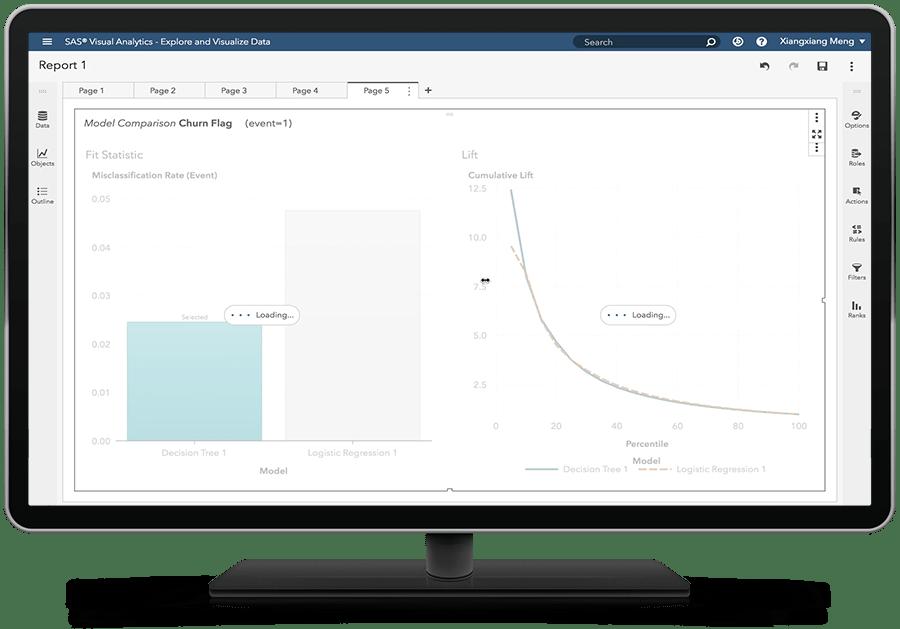 데스크톱 모니터에 모델 비교를 표시하고 있는 SAS Visual Statistics on SAS Viya