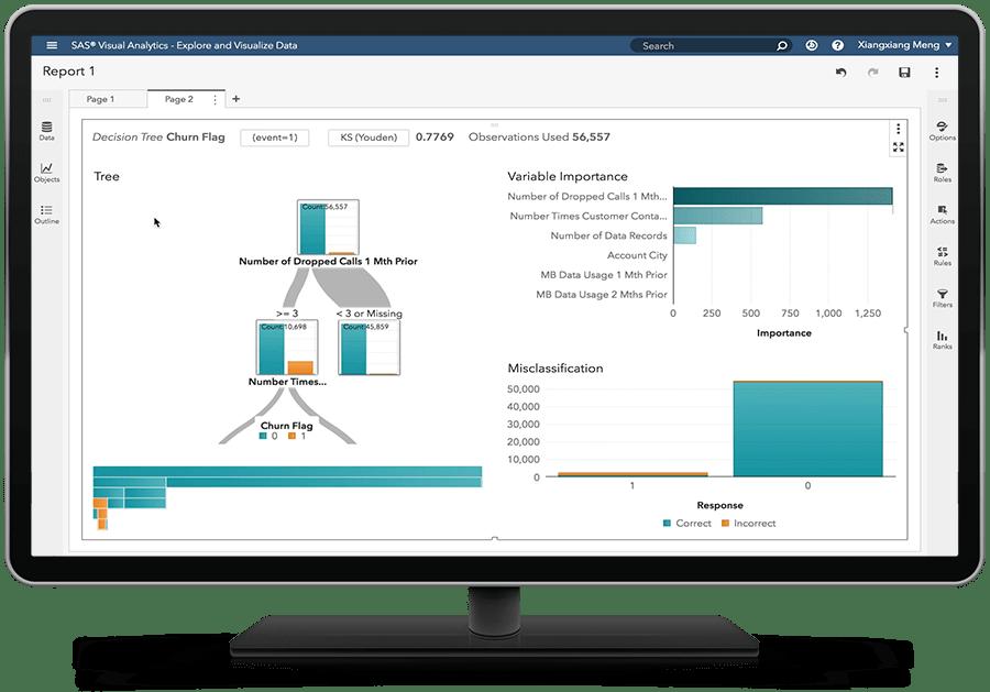 데스크톱 모니터링에 의사결정트리를 표시하고 있는 SAS Visual Statistics on SAS Viya