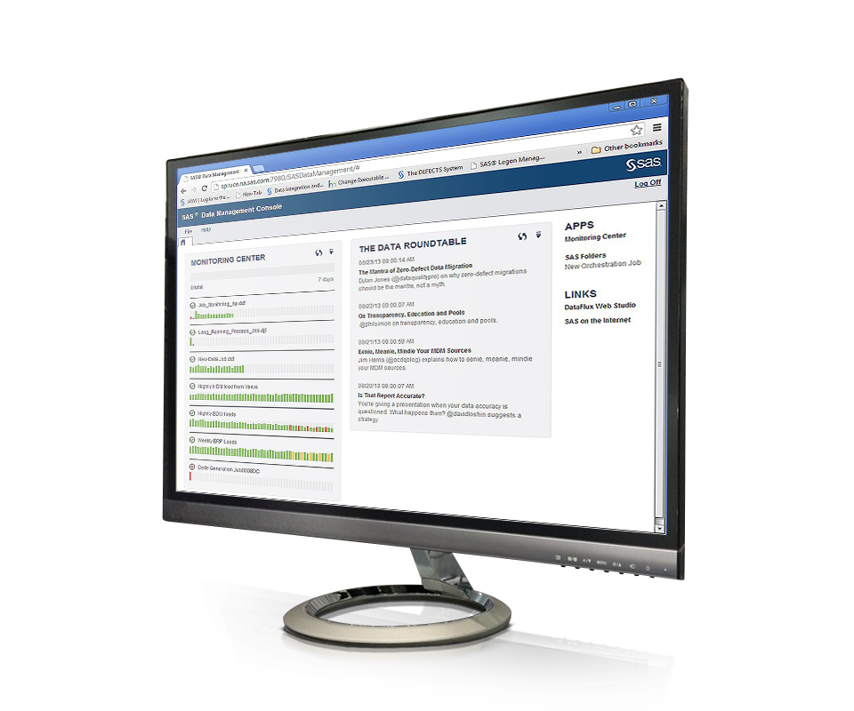 SAS® Data Management - centralized console screenshot on monitor