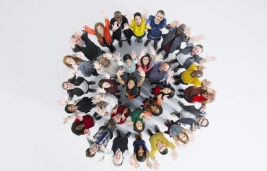 Group of happy people in the circle