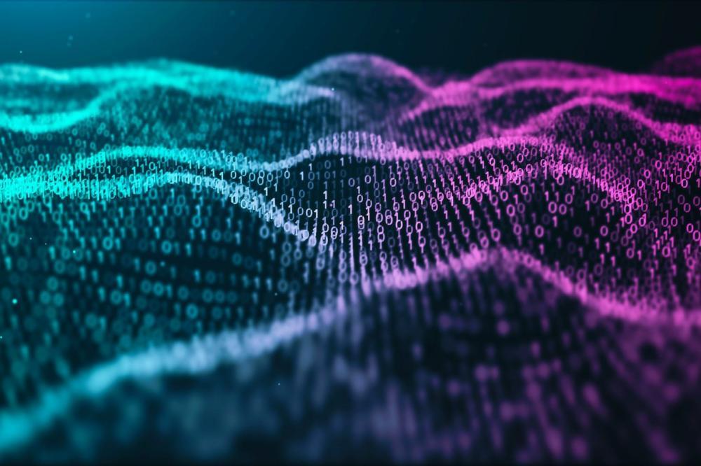 Binary code pattern on digital landscape wave