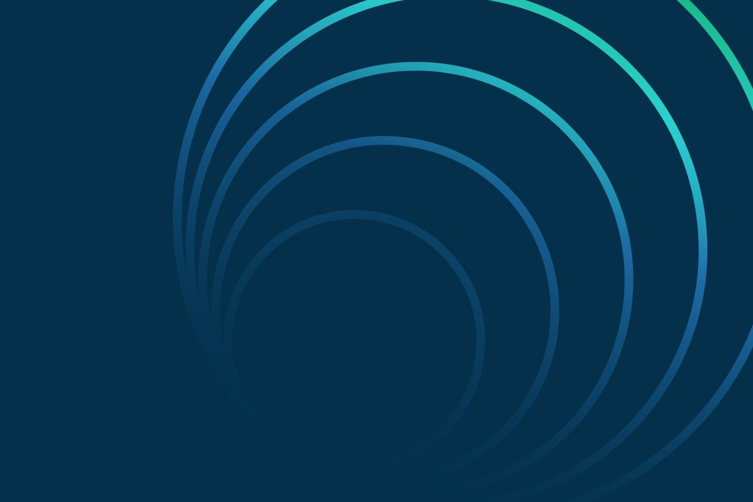 Blue and aqua nested circles on dark blue background