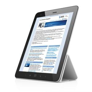 SAS newsletter displayed on an ipad