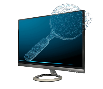Magnifying glass on computer monitor representing computer vision