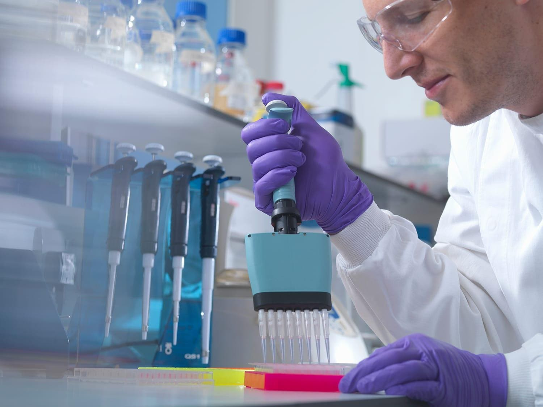 Male researcher using multi pipette in lab