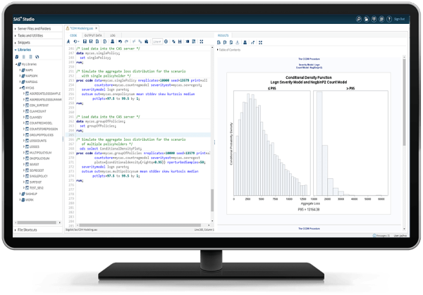 SAS Econometrics showing aggregate loss modeling on desktop monitor