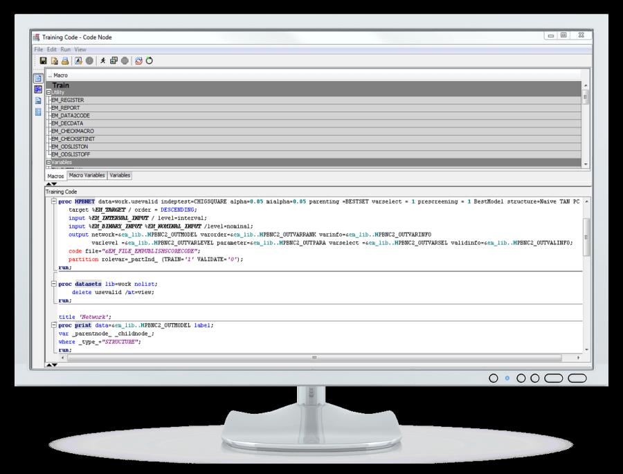 SAS Enterprise Miner showing code node on desktop monitor