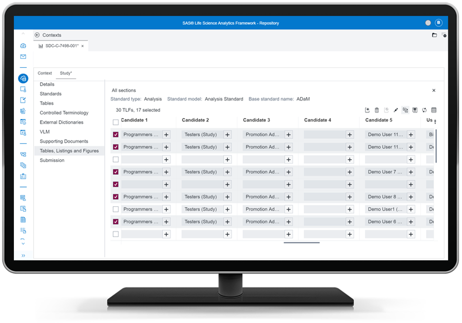 SAS Life Science Analytics Framework showing clinical research processes on desktop monitor