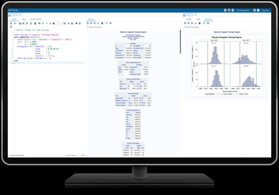 SAS QC® software showing process improvements on desktop monitor