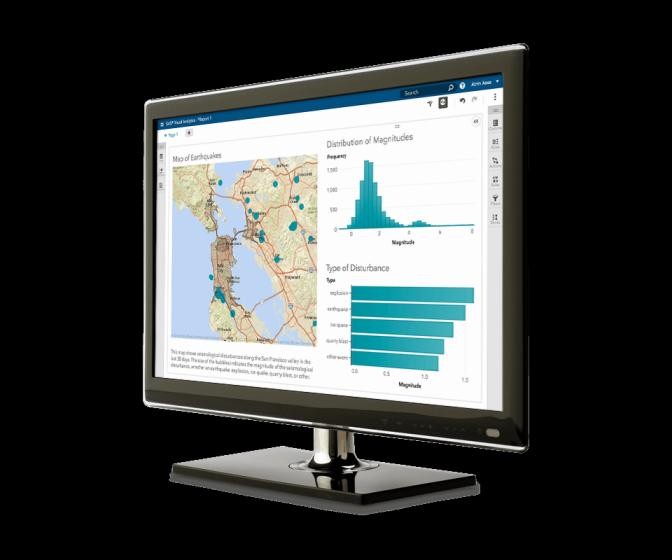 SAS Visual Analytics shown on desktop monitor