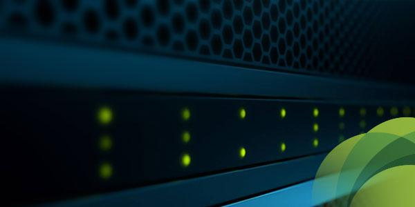 Closeup of server with green dots and green spirograph