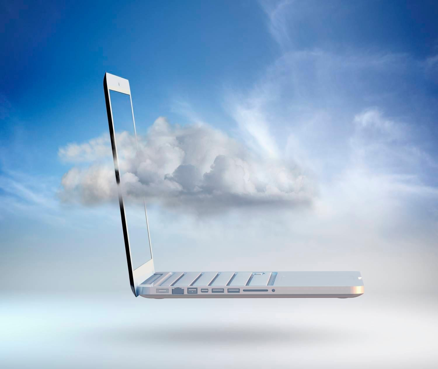 laptop in the clouds