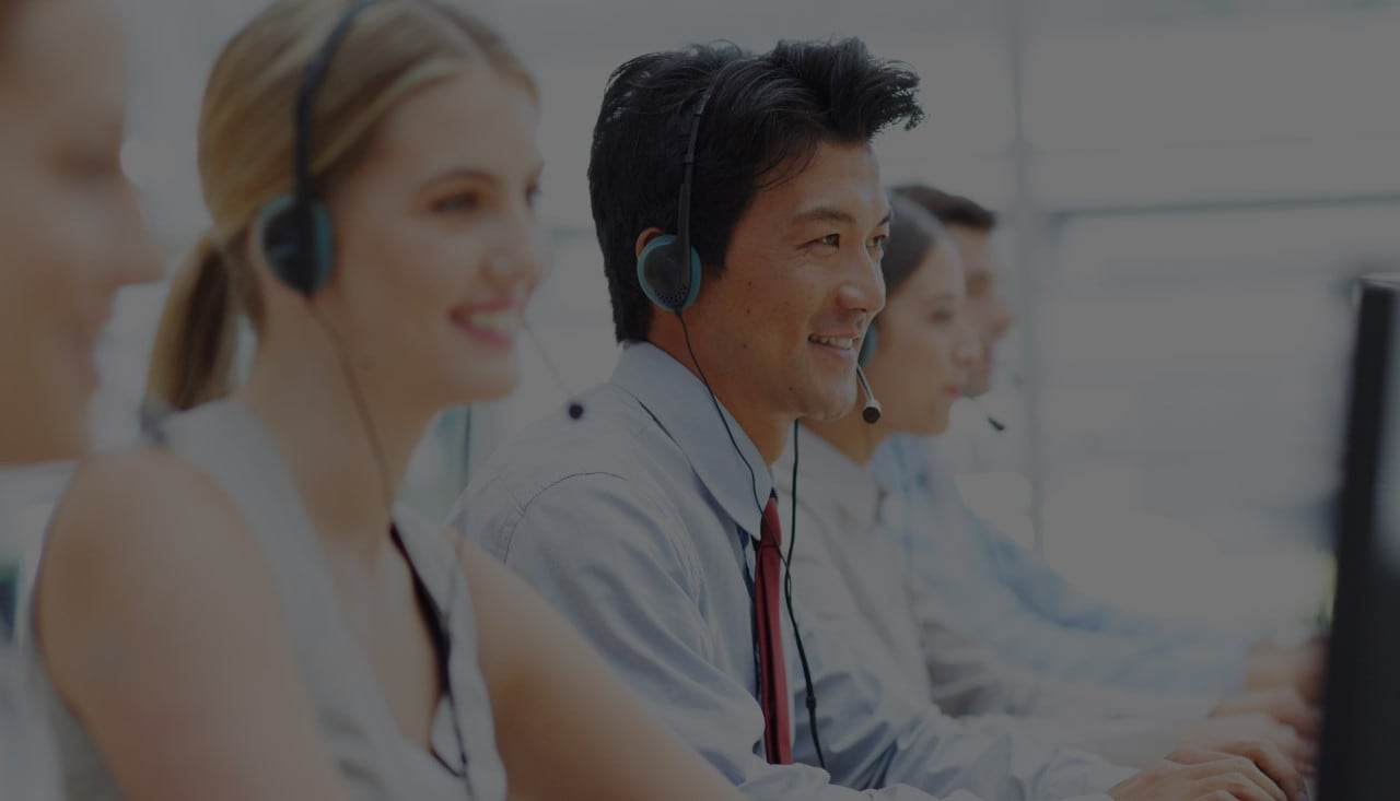 Young men and women at call center