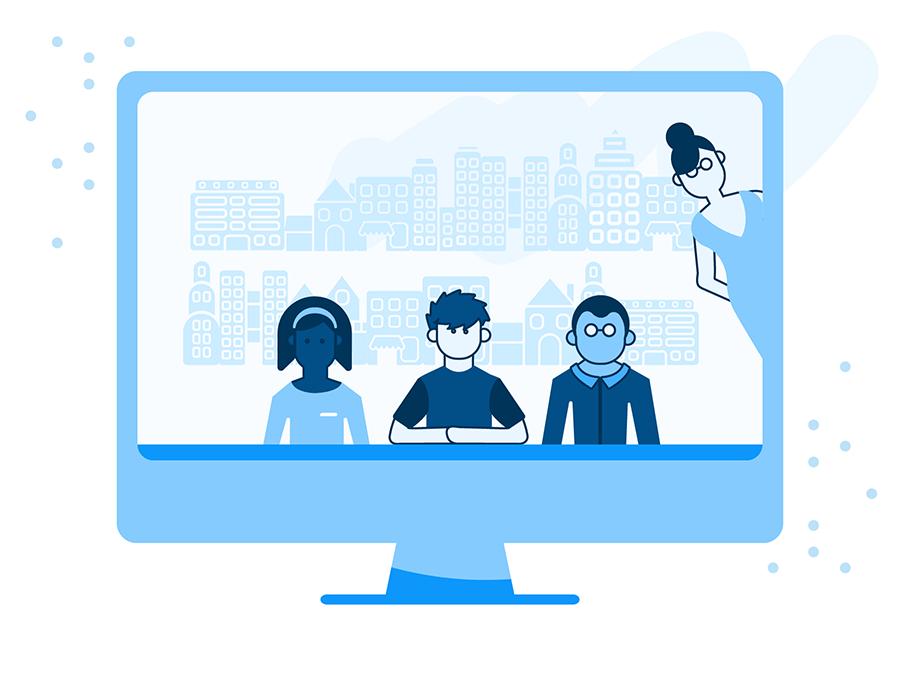 Ilustracja przedstawiająca współpracujących projektantów UX