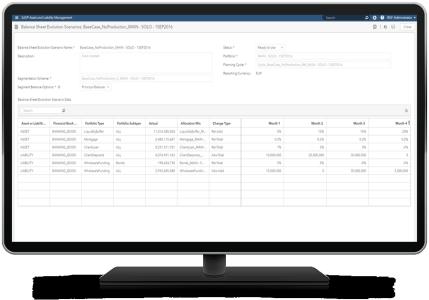 SAS Asset and Liability Management screenshot of balance report