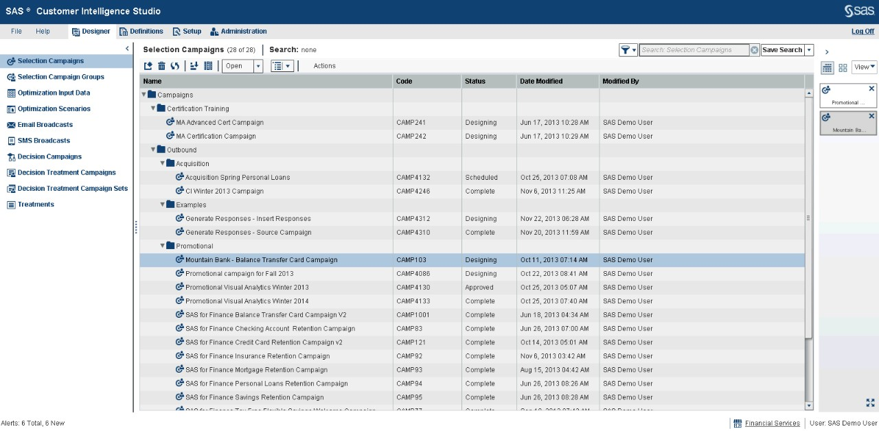 Marketing Automation software screenshot showing easy selection of campaigns via drag-and-drop functionality