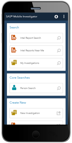 SAS Mobile Investigator showing home page on smartphone