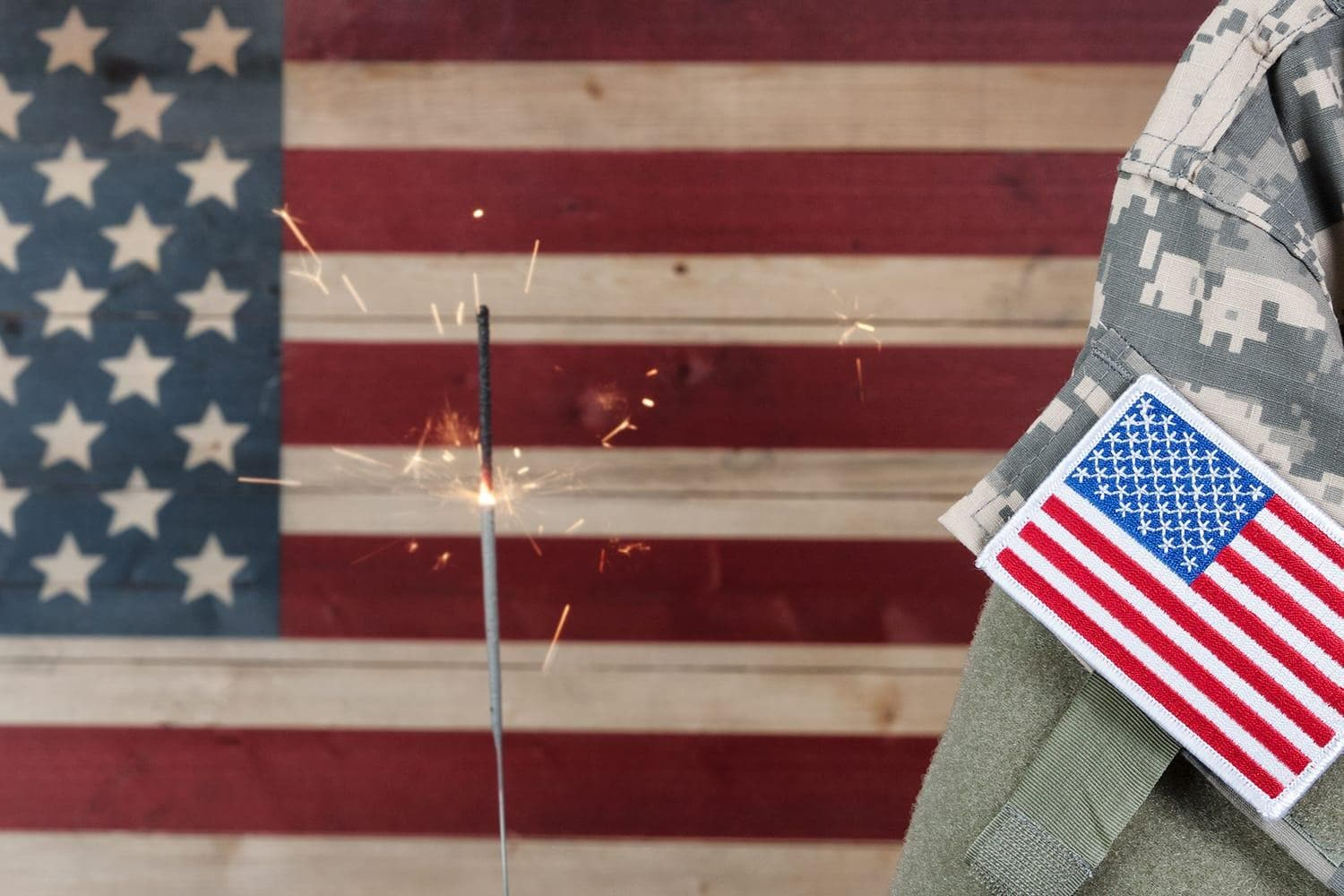 American flag and military uniform