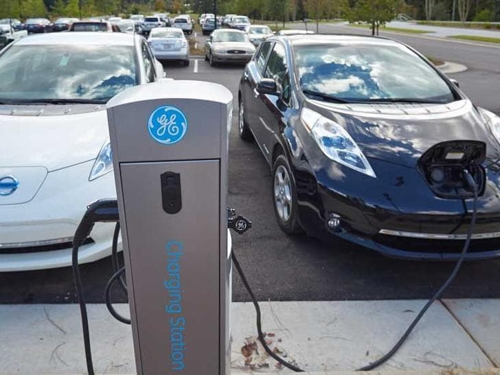 Car-charging station at Building Q parking lot, Cary NC headquarters