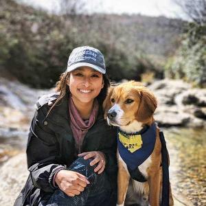 Selena Mau with dog