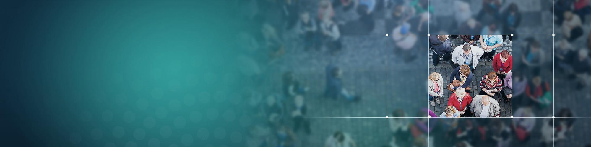 Crowd of people old town square with a bluegreen layer