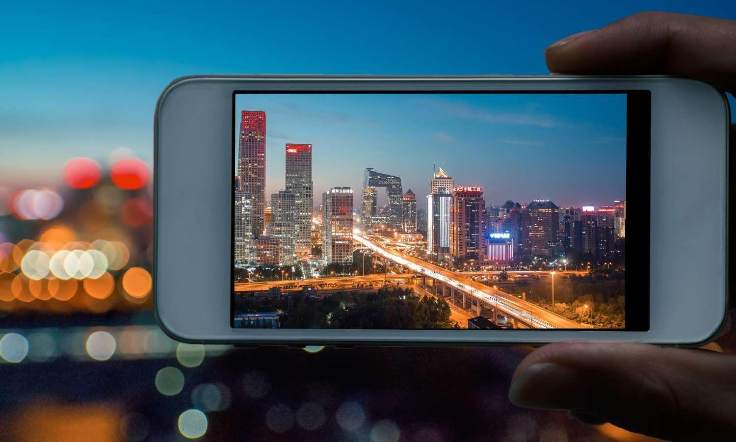 Beijing Skyline City Lights At Night With Iphone Smartphone Frame