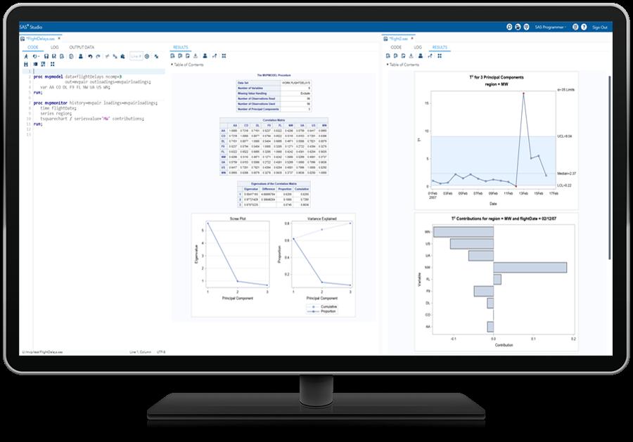 SAS QC® software shown handling big data on desktop monitor