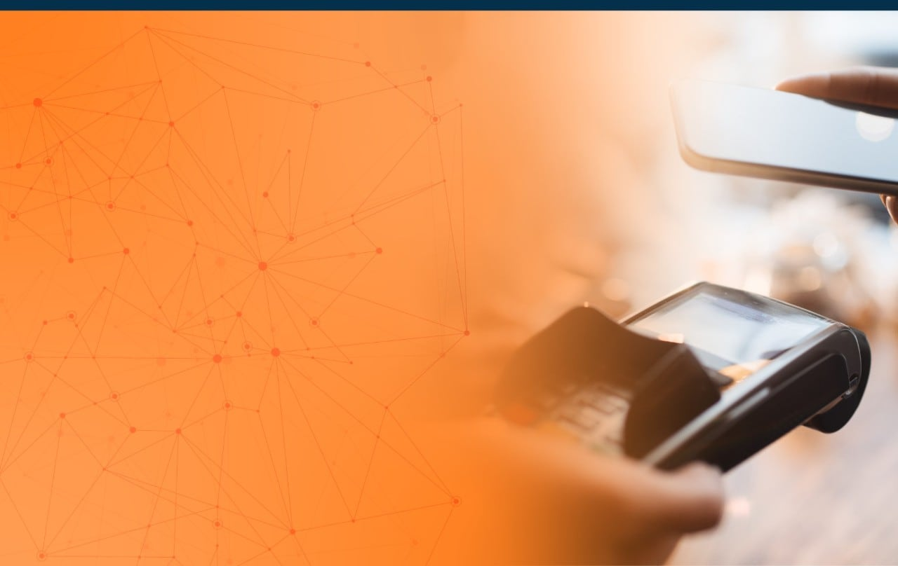 Orange Background with a Customer Paying with Cellphone in a Credit Card Machine
