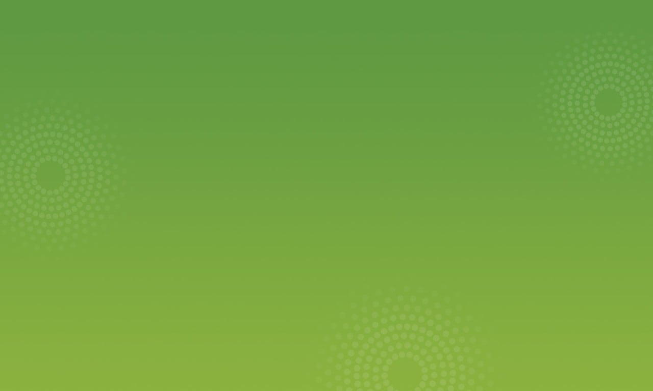 White dots in a circular design on a green background