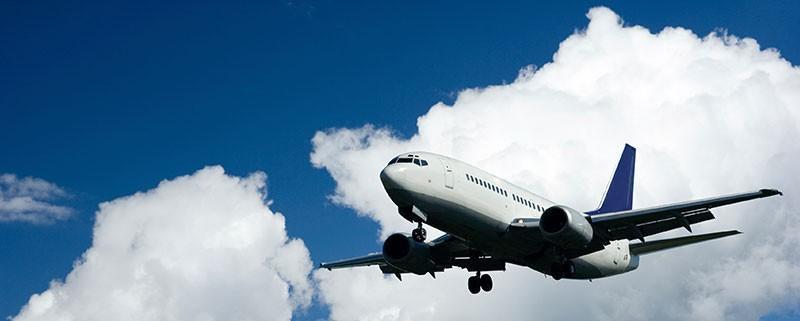 Plane flying blue sky