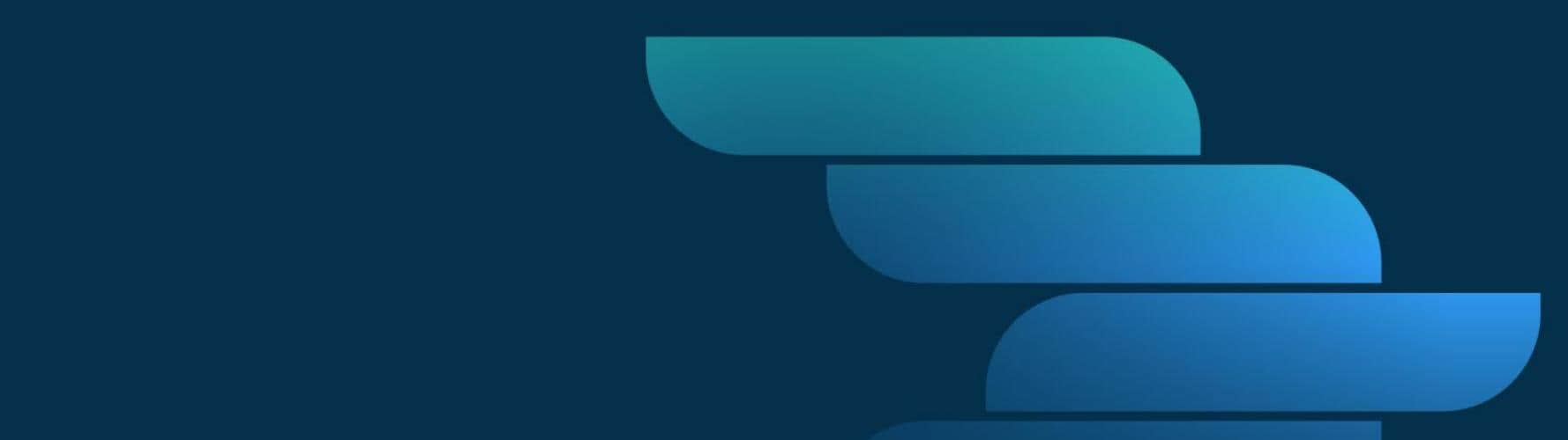 Blue shapes forming arrow on dark blue background