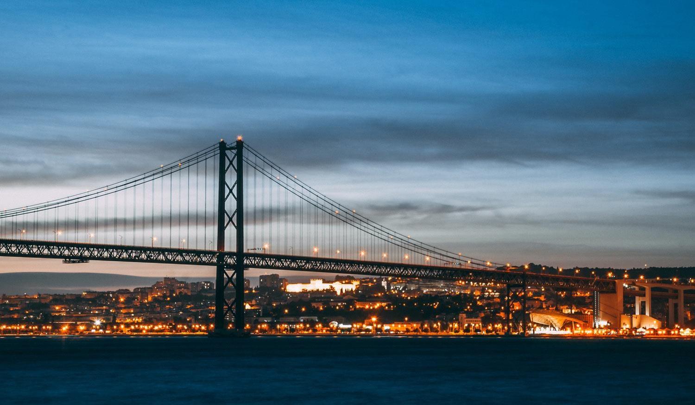 Lisbon by night bridge view