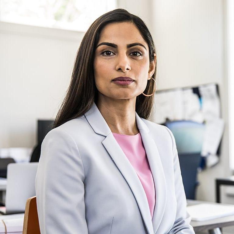 Woman in open business office