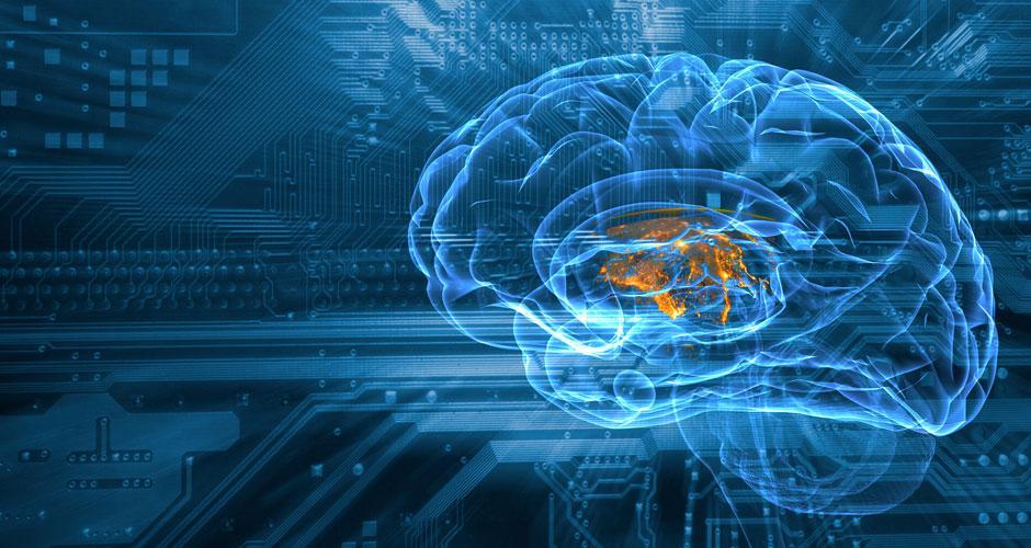 brain scan on blue chipset background