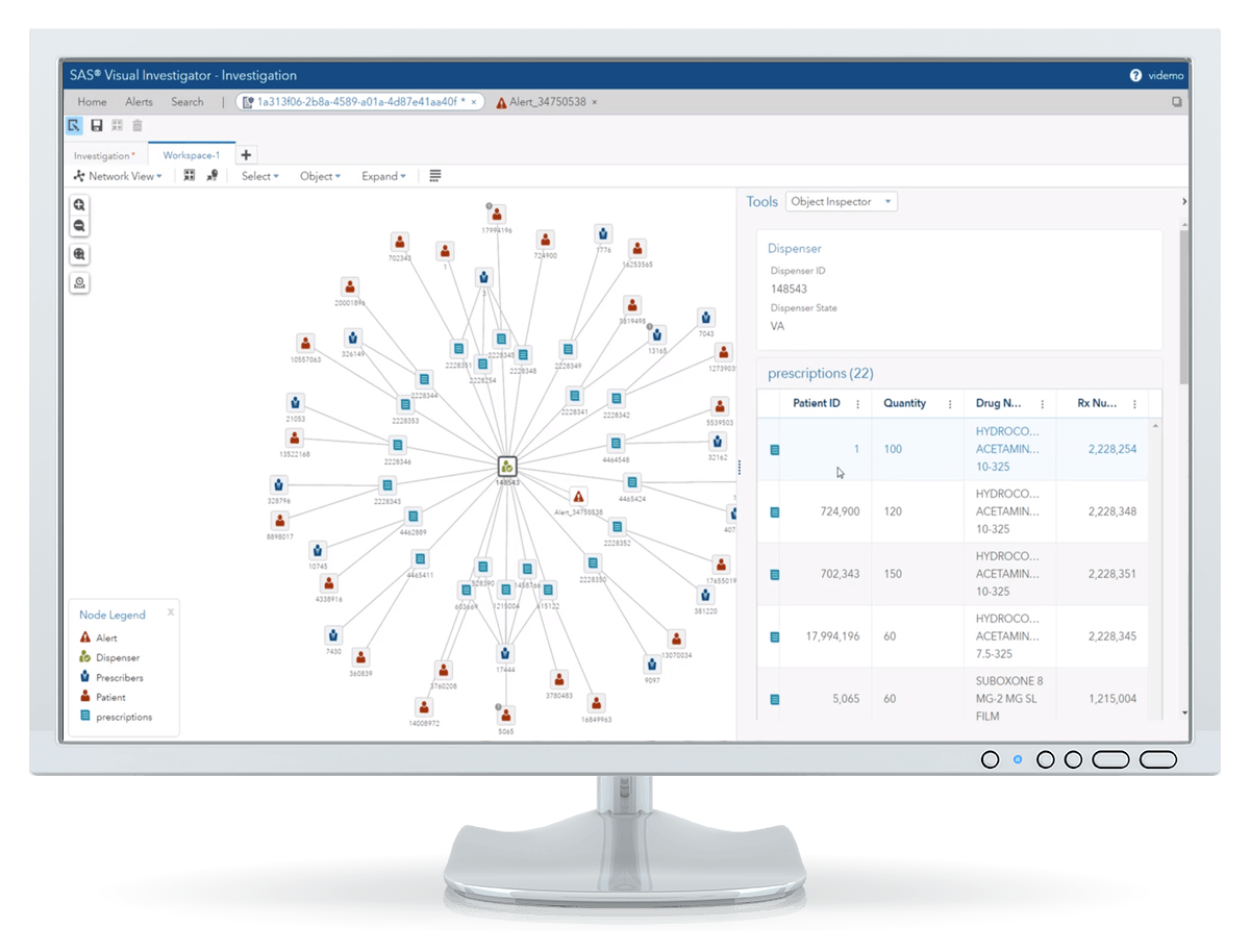 SAS Detection and Investigation showing network view on desktop monitor