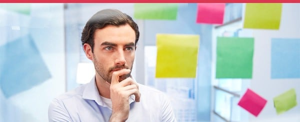 Man thinking email banner