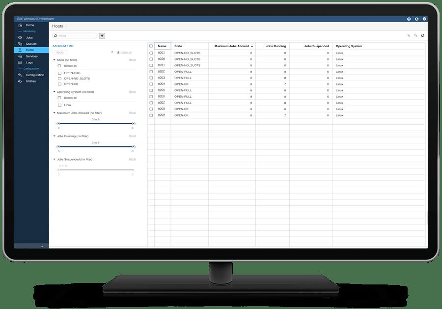 SAS Grid Manager on desktop monitor showing workload orchestrator