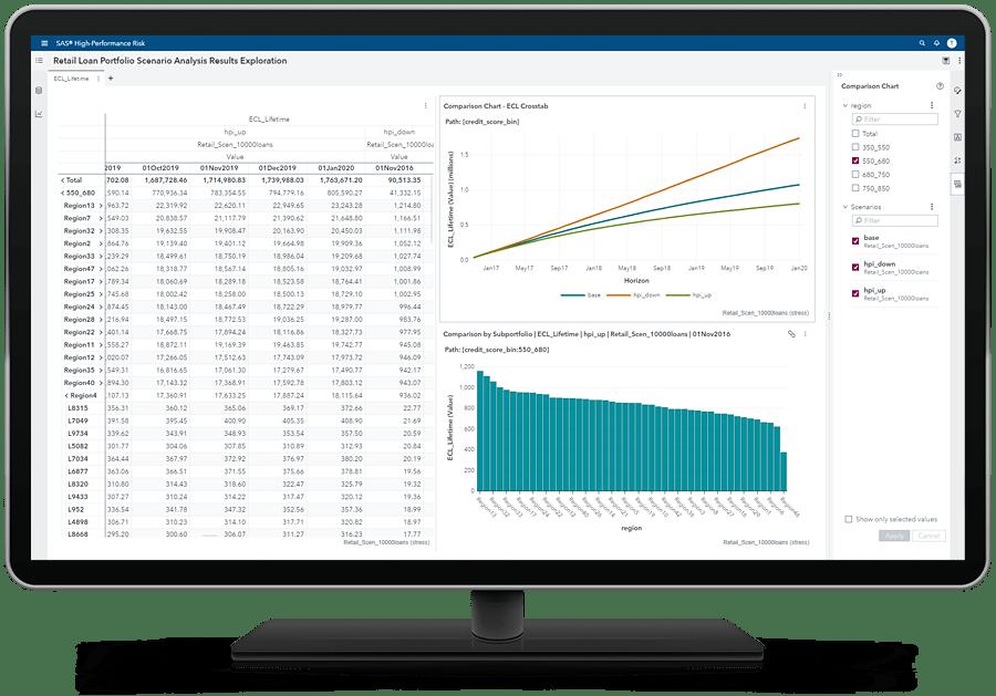 SAS Risk Engine explorer showing retail loans on desktop monitor