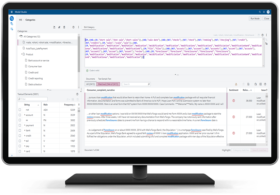 SAS Visual Text Analytics showing topics promoted to categories on desktop monitor