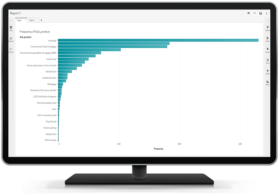 SAS Visual Text Analytics showing ability to explore and visualize data on desktop monitor