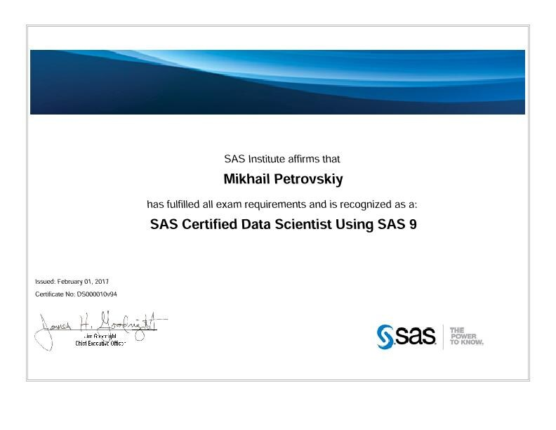SAS Certified Data Scientist Professional Using SAS 9, Mihail Petrovsky