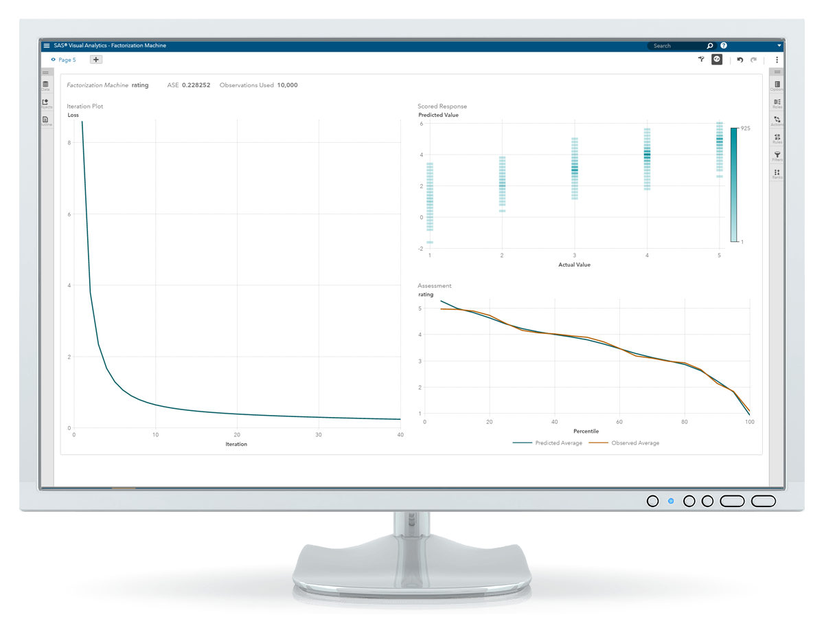 SAS® Visual Data Mining and Machine Learning screenshot on monitor