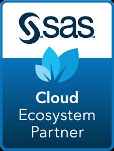SAS Cloud Ecosystem Partner badge with dark blue background in horizontal format