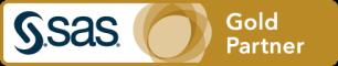 SAS Gold Partner badge art, horizontal format, white background