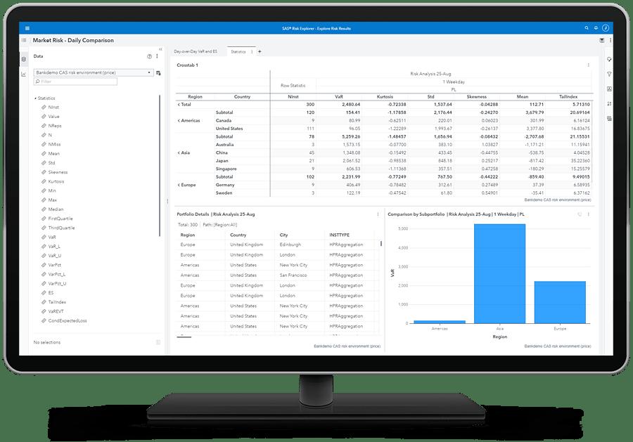 SAS Risk Engine showing statistics and subportfolio details on desktop monitor