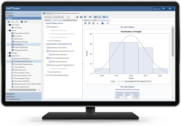 SAS University Edition showing SAS Studio interface on desktop monitor