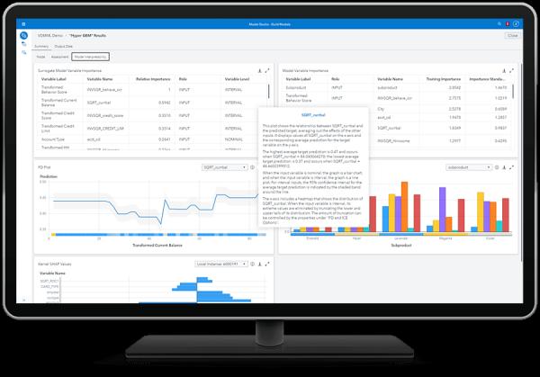 SAS Visual Data Mining и Machine Learning, показывающие генерацию естественного языка и SHAP на настольном мониторе