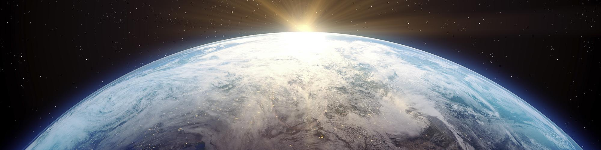Earth with sun rising