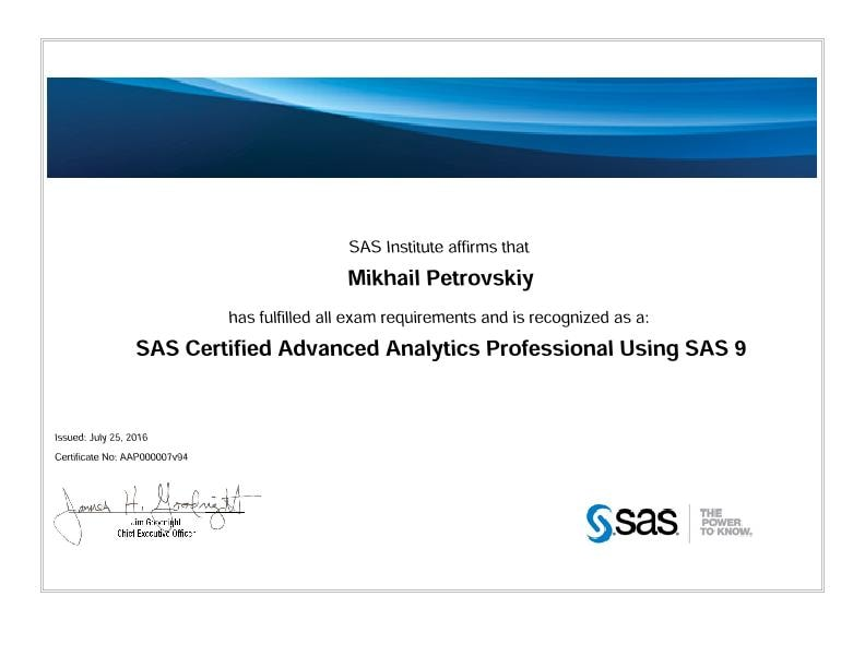 SAS Certified Advanced Analytics Professional Using SAS 9, Mihail Petrovsky