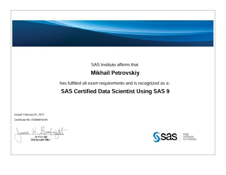 SAS Certified Data Scientist Professional Using SAS 9, Mihail Petrovsky